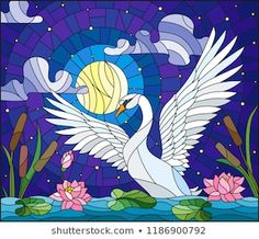 Illustration in stained glass style with Swan , Lotus flowers and reeds on a pond in the moon, starry sky and clouds Royalty Free Images, Royalty Free Stock Photos, Glass Painting Patterns, Punch Needle Patterns, Moon Illustration, Fresh Image, Sky And Clouds, Local Artists, Stained Glass