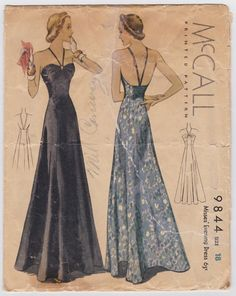 1930s Evening Gown Pattern McCall 9844 Open Back by FriskyScissors