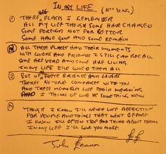 John's written lyrics to In My Life. Great scrapbooking quotes.