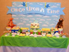 Storybook baby shower party dessert table! See more party planning ideas at CatchMyParty.com!