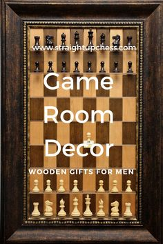 Enjoy this cherry bean board with antique bronze frame for your game room décor! When it comes to wooden gifts for men you can't beat this handmade vertical chessboard crafted in Nebraska by Straight Up Chess. All of their work is guaranteed not to warp or crack so you enjoy years of entertainment.#gameroomdecor #woodengiftsformen #woodenboardgames #handmadewalldecor #woodenetsyproducts