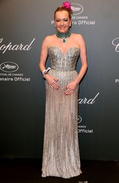 Caroline Scheufele, co-president of Chopard, wore a choker comprised of row upon row of emerald beads, topped off with a huge pear-cut emerald and a strapless heart shaped beaded gown. As seen at the Chopard Space Party. For glamour celebrity fashion Cannes Film Festival red carpet jewellery spotting travel here: http://www.thejewelleryeditor.com/jewellery/top-5/cannes-film-festival-red-carpet-jewellery-day-two/ #jewelry