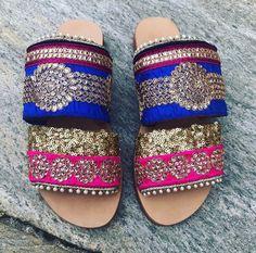 SAMPLE SALE, Boho Handmade Sandals, Leather Sandals, Slide Sandals, India Boho, Greek Leather Sandals, Embellished, Decorated Sandals #etsy #shoes #women #bohosandals #slidesandals #leathersandals #handmadesandals #womenslides #greekleathersandal