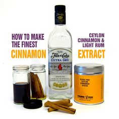 Cinnamon extract recipe to use instead of Fireball and it's unnatural ingredients. Cinnamon Extract, Rum Extract, Cinnamon Oil, Cooking Food, Cooking Recipes, Food Basics, How To Make Oil, Food Substitutions, Exotic Food