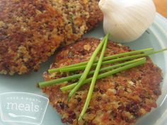 Garlic and Chive Quinoa Cakes - OAMM - Vegetarian Freezer Friendly Meals