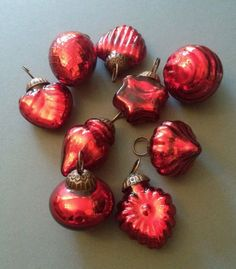 Set of 10 Red Kugel Style Glass Mini Baubles by Heavenly Homes and Gardens…