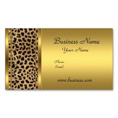 Elegant Classy Gold Black Leopard animal print Business Cards