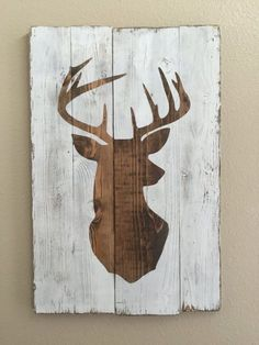 White Distressed Deer Head Silhouette Wood Sign - Art - Home Decor - Looking for affordable hair extensions to refresh your hair look instantly? http://www.hairextensionsale.com/?source=autopin-pdnew