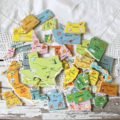 Map puzzle pieces turned into magnets.
