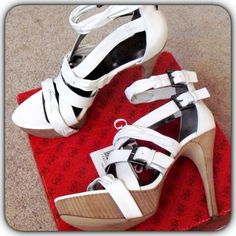 New Sexy GUESS White Strappy Platform Sandal Heels New Sexy GUESS Buckle Platform High Heel Sandal 10 – purchased from Victoria's Secret.  Up For Sale Is A Super Cute And Oh-So-Sexy Pair Of High Heel/Platform Buckle Sandals By Victoria's Secret – Size 10 – Comes In Original Box And Have Never Been Worn – Originally Cost $143.76 Including Shipping And Taxes…..  These shoes weight almost 4 lbs with box. Which is over the 2 lb limit at 4.99 shipping. Guess Shoes Heels