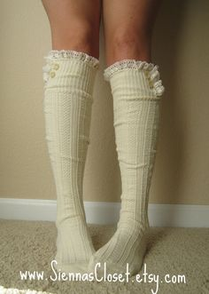 The Milly LaceCream Cableknit Boot Socks w/ by GraceandLaceCo, $34.00