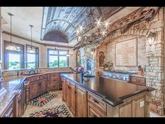 Barrel ceiling old world kitchen For sale: $2,995,000. Serenity Awaits with Majestic Lake & Fountain Views…