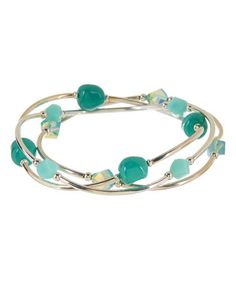 This Turquoise Crystal Bracelet Set Made With SWAROVSKI ELEMENTS is perfect! #zulilyfinds