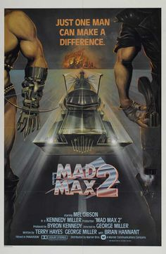 """Movie poster for the 1981 film """"Mad Max 2: The Road Warrior"""" starring Mel Gibson, directed by George Miller"""