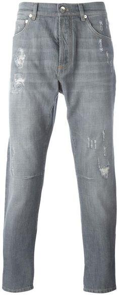 Brunello Cucinelli distressed jeans Brunello Cucinelli, Distressed Jeans, Just For You, Stylish, Tops, Fashion, Ripped Denim Jeans, Moda, Fashion Styles