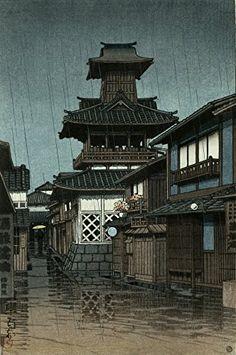 "Japanese Art Print ""Bell Tower at Okayama"" by Kawase Hasui. Shin Hanga and Art Reproductions http://www.amazon.com/dp/B01DH8C4MS/ref=cm_sw_r_pi_dp_fz4dxb0PEMZFZ"