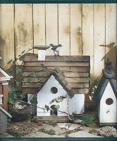 Birdhouses and Birds Dark Green Trim Wallpaper Border | eBay