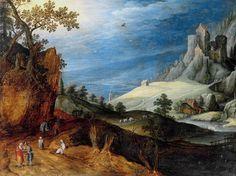 トビアス・フェルヘクト (Tobias Verhaecht,1561–1631 オランダ)「Landscape with Travellers walking, resting」