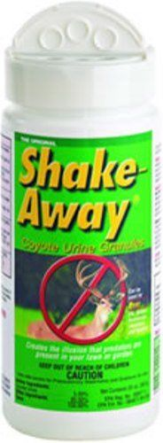 Shake Away 8003520 20oz Deer Repellent Coyote Urine Granules by Shake Away. $14.81. It WORKS - Money Back Guarantee. Safe -Completely organic, safe around kids & pets. Uses Animals' Strongest Repellent - FEAR!. Goes to work immediately, last for weeks. Easy To Use - Just sprinkle on ground and watch it work. From the Manufacturer                Shake-Away repellent granules have an odor that signals danger to all pest critters and are less messy than liquid. Patented formula won'...