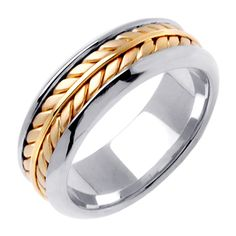 14K Two Tone Gold Hand Braided Wheat Pattern Wedding Ring Band, White Gold Center with a White Gold Base for Men or Women (Sizes 3-14) 7mm