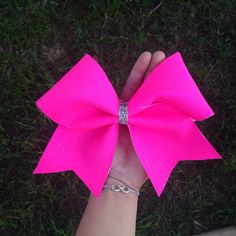 Neon Pink Sparkly Cheer Bow