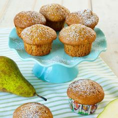 Päron- & mandelmuffins Fika, Homemaking, Tart, Cupcakes, Baking, Breakfast, Sweet, Morning Coffee, Candy