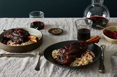 Pomegranate Braised Lamb Shanks recipe on - switch up your oil Lamb Recipes, Cooking Recipes, Stuffing Recipes, Meat Recipes, Yummy Recipes, Recipies, Dinner Recipes, Lamb Shank Recipe, Braised Lamb Shanks