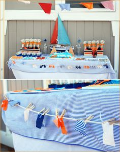 beach party:  LOVE the cuteness of mini fabric beach shorts cutouts for the garland!
