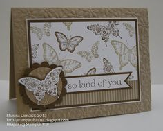 handmade card with lots of butterflies ... like the neutral look of Crumb Cake and Soft Suede on white... Stampin' Up!