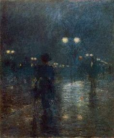 Childe Hassam (American, 1859-1935) - Fifth Avenue, Nocturne (c. 1895) - Cleveland Museum of Art