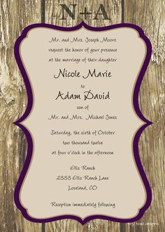 Engraved Love Rustic Wedding Invitation, DIY Printable, digital file (item 1011). $12.00, via Etsy.