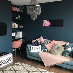 Dark Colors, Neutral Colors, Colours, Chalk Paint Colors, Toddler Bed, Couch, Cool Stuff, Room, Blue