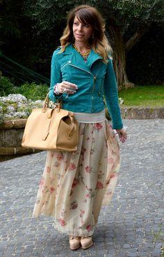 Floral print maxiskirt