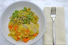 Kip Curry en bloemkoolrijst: Kip. Ananas. Curry. - bekijk dit recept op keukenrevolutie.be