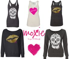 Skulls, Lips & Hearts...oh my!  Workout tanks & sweatshirts from www.moxiefitnessapparel.com