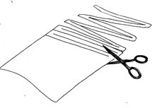 method of cutting old clothing or fabric into strips for rag rug or other woven items (bag or purse, for example)