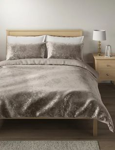 Velvet Bedding Set | M&S Velvet Bedding Sets, Double Bedding Sets, Duvet Sets, Loft Furniture, Bedding Master Bedroom, Big Design, House Design, Dream Rooms, Ideal Home