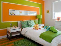 attraktive wandfarben ideen schlafzimmer in orange und grün
