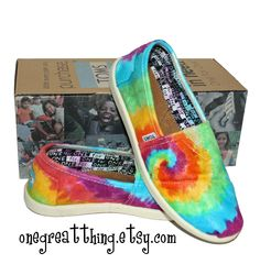 Tie Dye TOMS Shoes Womens Sizes hand dyed by One by onegreatthing, $100.00