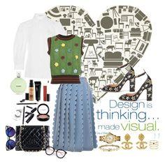 """Design is..."" by carlagoiata ❤ liked on Polyvore featuring Simone Rocha, VIVETTA, I'm Isola Marras, Valentino, MAC Cosmetics, Bobbi Brown Cosmetics, Chanel, Accessorize and Tory Burch"