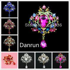 Luxury Acrylic Multicolor Water Drop Rhinestone Brooch Wedding Jewelry Pin Brooches Crystal --- Danrun Jewelry US $5.29
