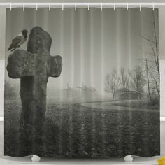 Xiaobaby Scary Background For Halloween Old Grave With A Cross And The Raven Classic Bathroom Curtains 6072inch ** You can find more details by seeing the picture link. (This is an affiliate link). Scary Backgrounds, Halloween Shower Curtain, Hookless Shower Curtain, Colorful Shower Curtain, Amazon Image, Bath Or Shower, Classic Bathroom, Bathroom Curtains
