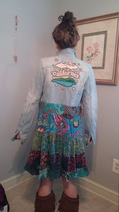 Upcycled clothing boho artsy funky patchwork and jeans duster style jacket, free . Upcycled Clothing Boho Artsy Funky Patchwork and Jeans Duster Style Jacket, Free… – UPCYCLING IDEAS – u Sewing Clothes, Diy Clothes, Jean Rapiécé, Upcycled Clothing, Boho Clothing, Shorts Jeans, Jacket Jeans, Jeans Dress, Estilo Country