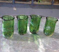 Green Shot glass set sold at Sheva Chayas Glassblowing Gallery. Made by Avigail Lennon Sapir Green Shot, Shot Glass Set, Mason Jars, Gallery, Instagram Posts, Art, Art Background, Roof Rack, Kunst