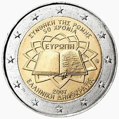 2 Euro Commemorative Coins: 2 euro coins Greece 2007, 50th anniversary of the Treaty of Rome. Commemorative 2 euro coins from Greece