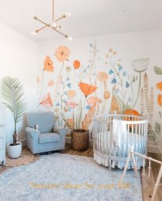 Neutral Nursery Idea With Floral Wall Decor Colorful and simple nursery ideas for your baby or for twins to feel as comfortable and loved as possible. Neutral Nursery Idea With Floral Wall Decor Colorful and simple nursery ideas for your baby or for tw