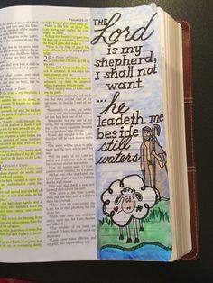 Psalm 23:1 The Lord is my shepherd I shall not want... Scripture Journal  Bible doodle