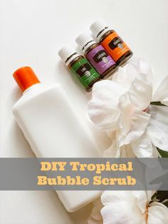 Tropical DIY Exfoliating Body Wash Recipe- learn how to make your own gentle daily body wash scrub for the shower #DIYbeauty