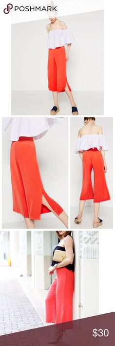 Zara New Without Tags Summer Pants Size:XS Zara Red Culottes with super cute side slits // New Without Tags // Summer 2016 Collection // Size: XS // I Ship same-day from pet/smoke-free home // 15% off on bundles and I have A LOT of luxury items at affordable prices so definitely check out the rest of my closet // Buy with confidence. I am a top seller here for a reason.  Zara Pants Wide Leg