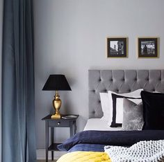bed, bedroom, black, blue, curtain, dream, dreaming, gold, grey, interior, lamp, nightstand, paint, painting, pillow, pillows, quilt, room, table, white, yellow, beside table